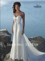 Pop elegant speghetti strap sweetheart empire ruffle with long train satin sea bridal wedding dresses WD73