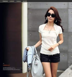Lady Cotton Shirt Woman White Summer Shirt,Drop Shipping,New&Cheap Fashion T-Shirt,3 Days Leading,Wholesale/1 Pcs/Lot-N-102-8864(China (Mainland))