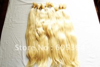 blond  colour human hair extension white# nature wave 16 inch-24 inch100% Chinese human hair bulk/  490g/lot