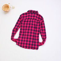 New arrival stylish womens plaid shirt 100% cotton full long sleeve casual shirt high quality turnd-down collar free shipping