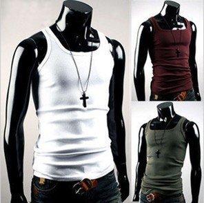 2012 Hot Sale Fashion Men Sleeveless Cotton T Shirt Tank Tops Free Shipping