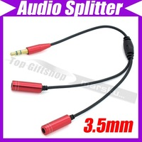 (10pcs/lot)3.5mm Earphone headphone Male 1 To 2 Dual Female Y Splitter Audio Cable Adapter Jack #2893