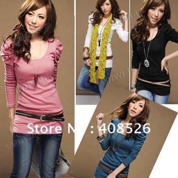 New Korean Women's T Shirt Spring Slim Elastic Puff Sleeve Crew Neck Tops 4 Colors free shipping 3736