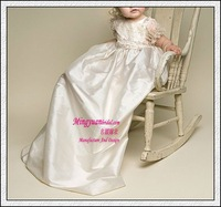 Appliqued comfortable Ivory with flowers christening gown