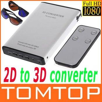 Silver/Black 1080p HDMI 2D to 3D Converter Switcher HD Converter Signal Video Converter Box Free Shipping