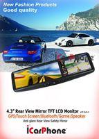 "2PCS/lot 4.3 "" inches Rearview mirror GPS Navigator monitor GPS systemw/Bluetooth+Free Reverse camera Free 2G SD+GPS map CAR GPS"