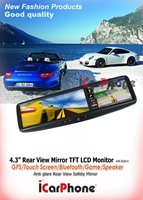 "4PCS/lot 4.3"" bluetooth gps Car mirror GPS system Rear view  gps device+Game+Free Pakring color camera Free 2G SD+GPS map"