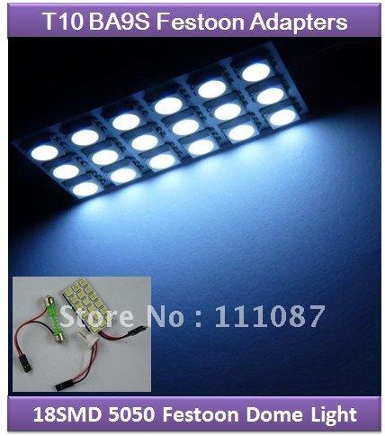 10X 18 SMD LED Festoon Dome 5050 18SMD 18LED light panel T10 BA9S Festoon adapter Reading Lamp Dome light adapter+ free shipping(China (Mainland))