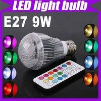 E27 9W Color Changing LED Light Bulb RGB Color Lamp 110V 240V Remote Control 2 Million#3108