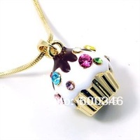 hot sell 18k gold plated multicolour crystal stones cupcake pendant necklace jewelry 10 pcs /lot