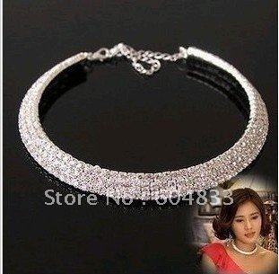 wholesale 3 Rows Choker Necklace Bride's Wedding Necklace Rhinestone Necklace\Free Shipping 12pcs/lot