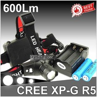 Free shipping Hot sell Wholesale 7w 7 watt 600Lm CREE XP-G R5 LED 2x 18650 Zoomable Zoom Headlamp Headlight Lamp Light Charger