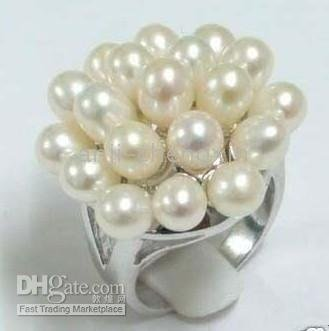 Chinese Natural White Pearl Lady Ring