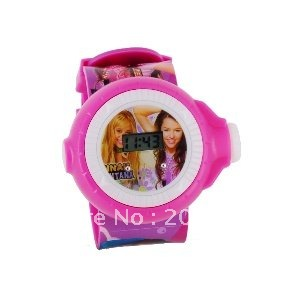 Children Hannan Montana LED Projector Watch (Red)+freeshipping!!