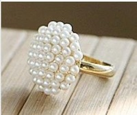 Free Shipping 6pcs/Lot Fashion Jewelry Elegant White Pearl Mushroom Ring Z-A7008