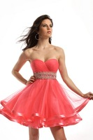 2013 New style!A-line pink empire beaded embroidery above-knee satin cocktail dress party dresses for women