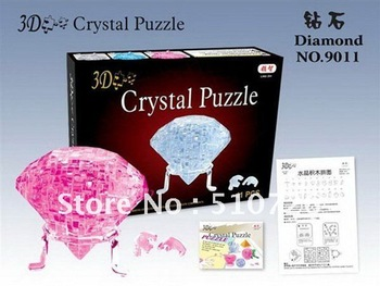 Free shipping!!!Light Apple Puzzle,3D Puzzle Crystal Decoration Red Green Diamond crystal Jigsaw Puzzle IQ Gadget Hobby Toy Gift