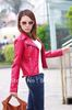 Free shipping womens pu red biker jacket synthetic leather jacket with mental zipper
