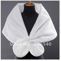 100% New Lvory Beading Faux Fur Shrug Wrap Shawl Wedding Bridal Accessory