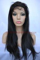 "Free shipping! 8"" -22' #1B, Virgin Brazilian Hair,Human hair Silky Straight,Front Lace Wigs"