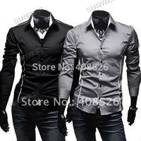 2013 Korean Men's Fashion Stylish Casual Trim Slim Fit Dress Shirts Long Sleeve Shirt free shipping 3651