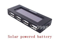 Free shipping,Solar Powered Battery + 4 Port USB Hub + Charger,Black