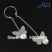 BN0001!10PCS/Lot!Free Shipping Rhinestone Stainless Steel Butterfly Pearl Monroe Piercing Nipple Ring