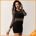 Free shipping!!2012 fashion O neck long sleeve net yarn matching perspective black color sexy dress mini dress XG16012