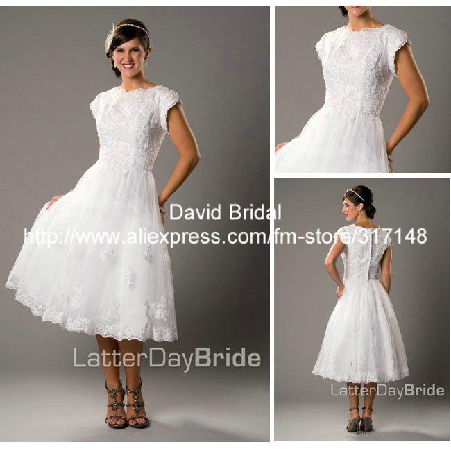 Plus Size Wedding With Sleeves Tea Length 47