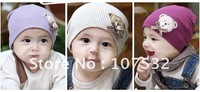 Korea style  Special offer 5pcs/lot  bear design head cap baby hat  in spring and autumn hat knitting cap with different design