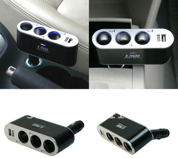 Free shipping 3 ways Car Cigarette Lighter Socket,3 in 1Car Cigarette Lighter socket Adapter,Socket Angle can be adjusted