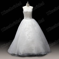 Custom Made 2012 Real Sample Ball Gown Applique Strapless Organza White Bridal Wedding Dress