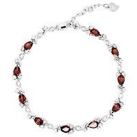 Free shipping Garnet bracelet Natural garnet 925 silver plate 18k white gold chain bracelet ,drop shape garnet,#5