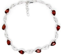 Free shipping Garnet bracelet Natural garnet with 925 silver plate 18k white gold chain bracelet ,with drop style gem,#21