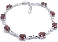 Free shipping Garnet bracelet Natural garnet 925 silver plate 18k white gold chain bracelets For gift/wedding/anniversary,,#24