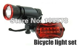 1Set/lot 806A Bicycle Light 5 Watt 270 Lumens CREE LED Bike Light Bicycle Front Torch + 5 LEDs Red Rear Light + Torch Holder(China (Mainland))