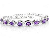 Free shipping Bracelet Natural amethyst 925 silver plate 18k white gold chain bracelet ,gem size 5*7mm,gem qty 8pcs,#1-17
