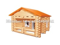 Wooden Assembly House Log Cabin Building Block Kits Wisdom House Play Toys 98 Parts Faster & Free Shipping