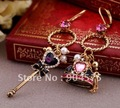 MIN order $15  can mix order Asymmetric scepter crown pendant drop earrings,gold plated earrings