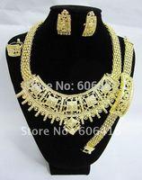 Promotion!!!Dubai Jewelry Gold Plated Net Shape Fancy Necklace Set,Fashion Wedding/ Bridal Jewelry set Free Shipping J-A0051
