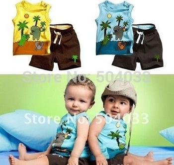 Wholesale Fashion Baby's Coconut trees sleeveless vest +pants Boys children suits,Kid clothes suits(Tshirt+pants) 2color