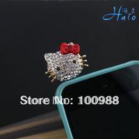 IP012!10pcs/Lot Free shipping Rhinestone Alloy Fashion Phone  Crystal Female Kitty Dust Plug Mobile Phone Accessories