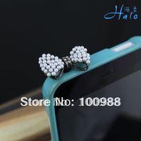 IP022!10pcs/Lot!Crystal colors!Alloy Fashion Phone  Crystal Ladies' Rhinestone Ribbon Pearl Dust Plug