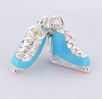 wholesale silver plated zinc alloy environment friendly ice skates charms pendants 100 pcs per lot with free shipping