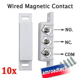 10pcs Wired Magnetic Door Window Contact Magnetic Sensor for Alarm System W N.O/N.C Normally Open/Closed Output AT-DC02W by Post(China (Mainland))
