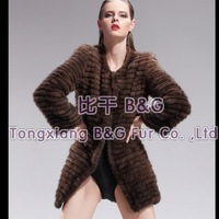 BG6468 2012 Brown Genuine Knitted Mink Fur Coat With Stripes Women Casual Garment M,L,XL,XXL,3XL Plus Size OEM Wholesale