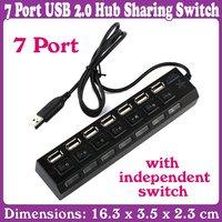 5pcs/Lot_High Speed Laptop New 7 Port USB 2.0 Hub Sharing Switch_Free Shipping