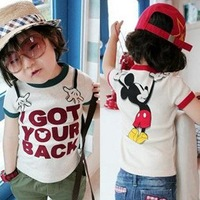Free shipping Korea Style Lovely Mickey Kids Cotton Tshirt Children Clothes(TT004)