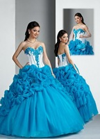 2013 New Arrival!! New arrival! blue and white princess elegant flowers beaded ball gown prom dress Quinceanera Dresses