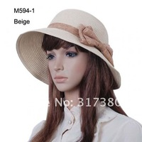 Loverly  Women Sweet Large Bowknot Straw Sun Hats Cloche Spring Summer Fashion Designer Bucket Hats r Spring Summer 2013